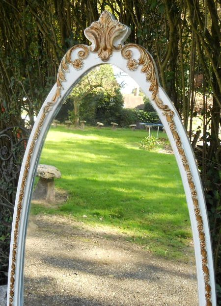 Louis Style Painted Cheval Mirror On Stand